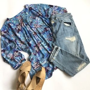 NYDJ Blue Paisley Print Blouse Peasant Top